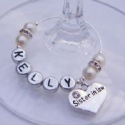 Sister In Law Personalised Wine Glass Charm - Elegance Style